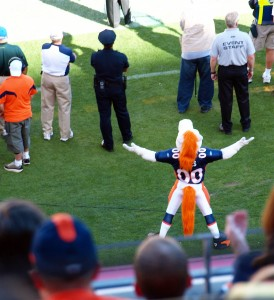 Broncos mascot, Miles, dislikes a ref's call.